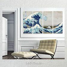 Hokusai La grande onda QUADRO MODERNO 152x80 STAMPA SU TELA ARTE WAVE ARREDO