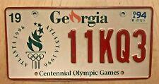 "GEORGIA CENTENNIAL OLYMPIC GAMES  AUTO LICENSE PLATE "" 11KQ 3 "" GA  ATLANTA 1996"