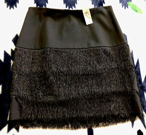 Ann Taylor NWT $128 Black Satin LAYERED FRINGE Short SEXY Mini Skirt Size 8