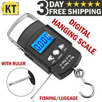 Fish Scale LCD Digital Fishing/Luggage Scale Weight with Measuring Tape Ruler