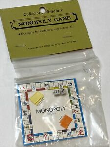 Dollhouse Miniature Detailed Replica Monopoly Board Game new in pack, vintage