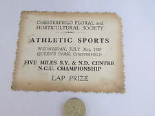 CHESTERFIELD Floral Society 1929  ATHLETIC Sports 5 Mile LAP Prize  QUEENS Park