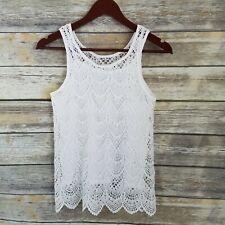 Jessica Simpson Nwt Size Xl Ariana Big Girl Sleeveless Crochet Top Scallop Hem