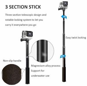 Waterproof Extension Pole Selfie Stick Monopod For Go Pro GoPro HERO 6 5 4 3 3+.