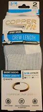 Copper Fit Crew Compression Sport Socks 2 Pack S/M Mens 5-9, Womens 6-10