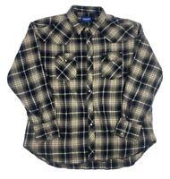 Wrangler Multicolor Plaid Pearl Snap 100% Cotton Long Sleeve Mens XL