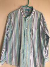 Fresh Produce Multicolored Striped BUTTONED DOWN Shirt ~ Size L ~ 100% COTTON