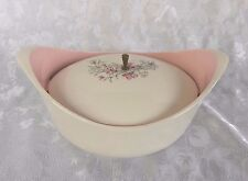 Taylor Smith Taylor Ivy Twine Pink Gray Oval Covered Casserole w Lid