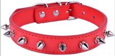 Dog Collar Spiked Spikey Studded Puppy XS Small Medium PU Leather Pink Black UK