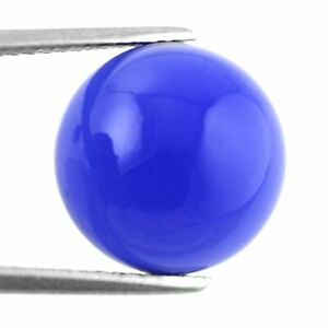 12mm (7.10cts) ROUND CABOCHON-CUT DEEP-BLUE NATURAL INDIAN CHALCEDONY GEMSTONE