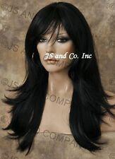 Off Black Flip Out Straight Heat Safe Long Human Hair Blend Wig WBMIS 1B