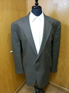 Mens Blazer Sport coat Jacket Greoffrey Beene 52L Wool Gray Brown weave N-#46