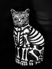 Day of the Dead Cat Bank Statue Hand Painted  Art Dia de los Muertos Kitty