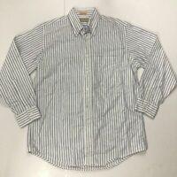 L.L. Bean Men's Size 16 - 33 White w/ Blue Stripes Long Sleeve Button Down Shirt