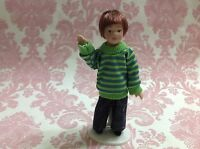Dollhouse Miniature Porcelain Little Boy Poseable Ceramic Doll 1:12 w/ Stand