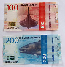 Norway 100 and 200 kroner new banknotes 2017 uncirculated