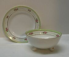 Footed Bowl and Plate with Pink Flowers Green and Gold Trim Nippon Vintage