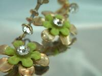 Vintage 50's Green Celluloid Rhinestone Dangle Flower Screw Back Earrings 637ag0