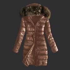 Women Outwear Quilted Winter Warm Long Coat Fur Collar Hooded Slim Down Jackets