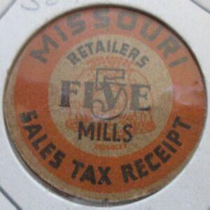 Missouri Retailers Five Mills Sales Tax Receipt Token. (K247)