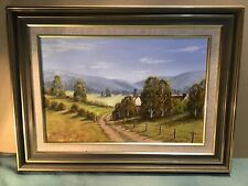R Rankine The Road Home Oil Framed Painting Dated 1992