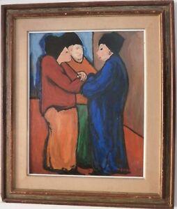 "The Conversation-Among Three Women -Oil Painting-24"" x 19""-1960s-Maxim Bugzester"