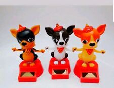 Solar Power Dancing Chihuahua Puppies Dog Bobble Head Toys New 3 PC