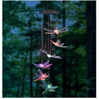 Color-Changing LED Solar Dragonfly Hummingbird Mobile Wind Chime Lights Yard