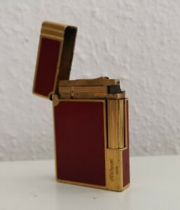 Vintage Lighter Feuerzeug St. Dupont Gatsby Chinalack Rot Rarität! Funktioniert!