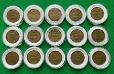 More details for queen elizabeth ii 1953-1967 threepence bronze (15) coins all years + capsules