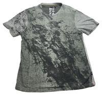 ✨⭐️Buffalo David Bitton Heather Gray/Green Short Sleeve Shirt Sz S Abstract Art✨
