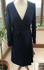 Vilagallo Designer Navy Blue Knee Length Wrap Dress Pink Velvet Cuffs BNWT s16