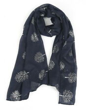 Navy Blue Mulberry Trees Silver Foil Scarf Tree Scarfs Gift Scarves Light Soft