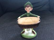 Vintage Pixie Elf Figurine Vase Laundry Basket Made in Japan Enesco
