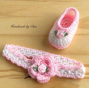 Handmade Crochet Booties and Headband - Baby shoes-  - Girl  newborn 0-3 months