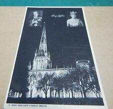 George V silver jubilee postcard St Mary Redcliffe Church Bristol art.