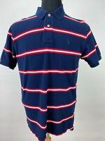 Polo Ralph Lauren Shirt Size L Blue Red Striped Pique Cotton Logo Top Pre-Owned