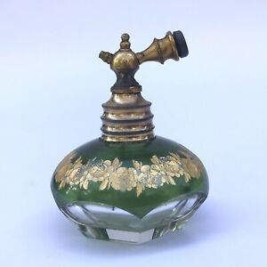 Antique Atomiser St Louis Bohemian French Perfume Bottle Moser Intaglio Crystal