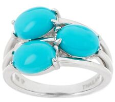 SLEEPING BEAUTY TURQUOISE 3-STONE DESIGN STERLING RING SIZE 5 QVC $124.50