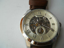 New Fossil Automatic men's water resistant brown leather & Analog watch.ME-3052