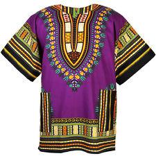Cotton African Dashiki Mexican Poncho Hippie Tribal Boho Shirt Purple ad07v