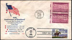 US FDC, SC#858, combo w/2401.50th Anniv. of Statehood.Helena,MT.Flag Cachet,1939