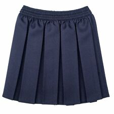 GIRLS BOX PLEAT ALL ROUND ELASTICATED SKIRTS SCHOOL UNIFORM KIDS AGE 2-18 YEARS