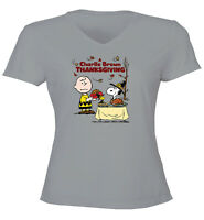 Charlie Brown Snoopy Thanksgiving Classic Juniors Women Tee T-Shirt Gift Shirts