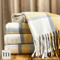 Soft Woollen Feel Ochre Yellow / Grey Checked Large Sofa / Bed Blankets Throws