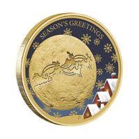 Australia 2014 Christmas Reindeer Season's Greetings $1 Colour UNC Coin Carded