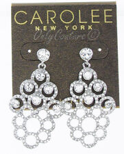 $75 Carolee Silver Tone HOLIDAY COCKTAILS Chandelier Earrings NEW