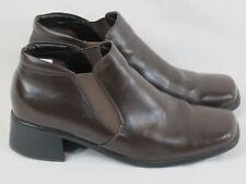 Jessica Brown Leather Pull on Ankle Boots Size 9 M US Excellent Condition