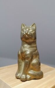Vintage Small Weighty Brass Cat Figure Paperweight