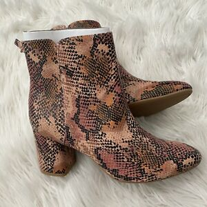 Old Navy Pink Black Snakeskin Pattern Heels Ankle Boots Women's Size 8